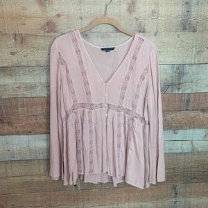 American Eagle Blush Pink Babydoll Bell Sleeve Top